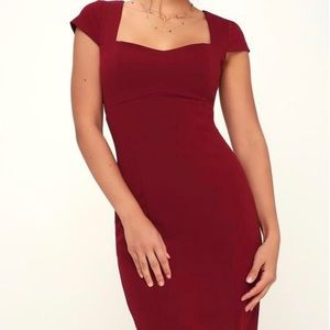 Lulu Cap Sleeve Square Neck Midi Bodycon Dress